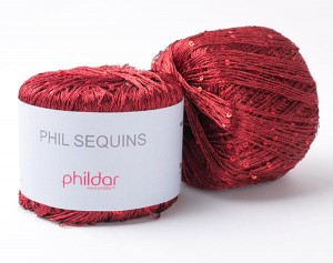 Phildar Sequin - Bordowy - Bordeaux